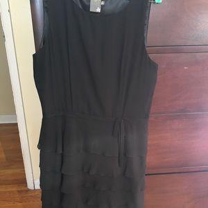 EUC Silk Ruffled Black Dress by Taylor